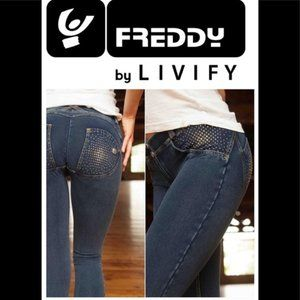 Freddy Swarovski crystal embossed Freddy jeans.